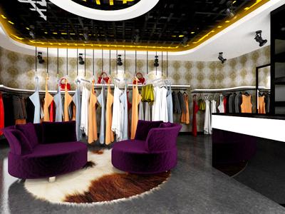 小型服裝店裝修 個性服裝門面房裝修